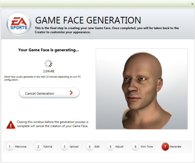 Generating a gameface