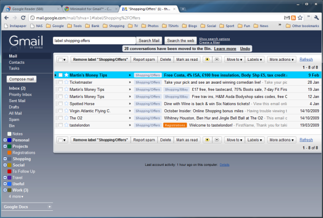 Minimalist for Gmail (the blue theme is one of Google's own and doesn't require an extension)