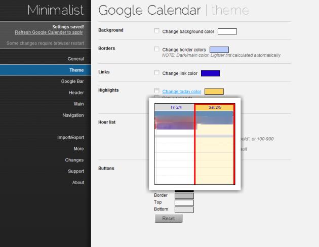 Minimalist for Google Calendar's settings screen