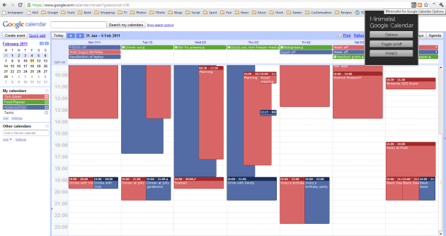 Minimalist for Google Calendar in action