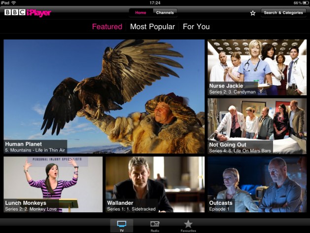 The main iPlayer app home screen