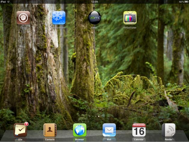 Cydia and pals on my iPad homescreen