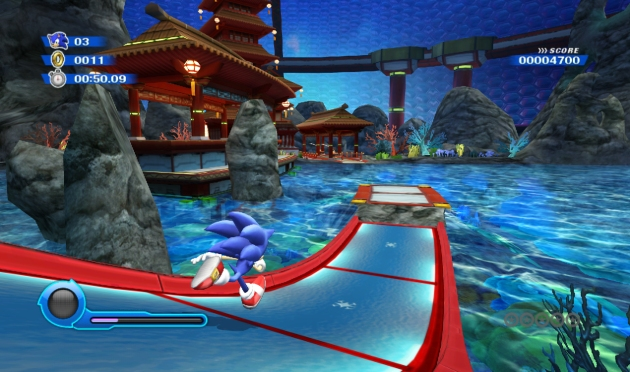 On occasion the camera gets all spooky and control of Sonic is taken from the player